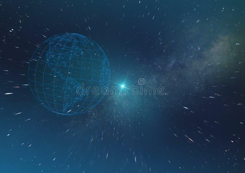 Concepto de la inteligencia artificial, tecnologías futuras en la numeración de la tierra del planeta del mundo en el espacio inf