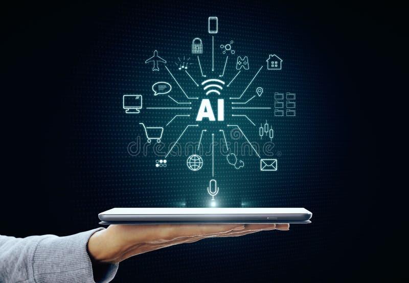 Concepto de la inteligencia artificial y del futuro foto de archivo