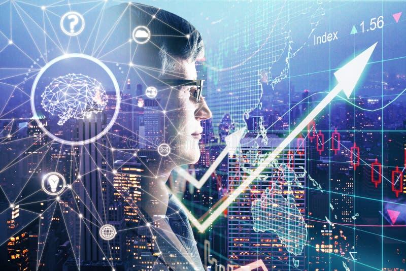 Concepto de la inteligencia artificial y de las finanzas foto de archivo