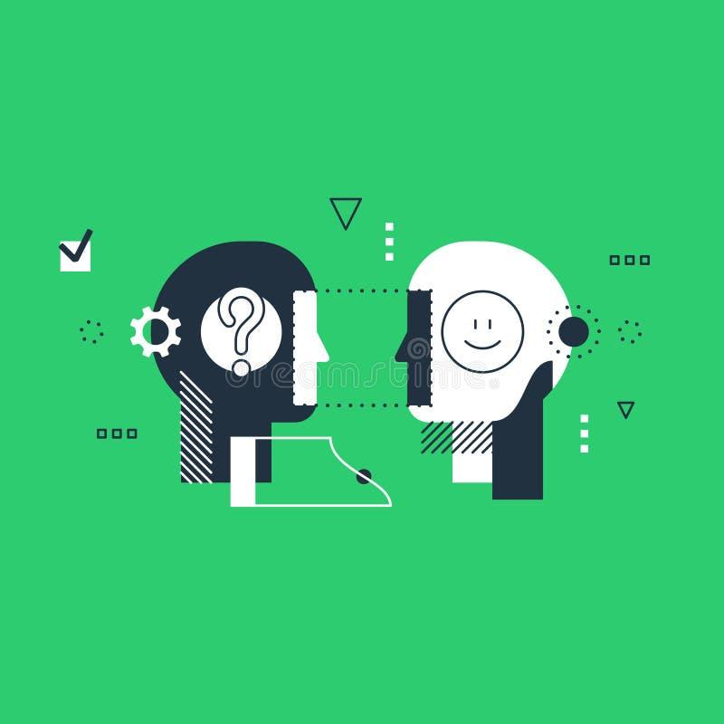 Concepto de la inteligencia, capacidades de comunicación, razonamiento y persuasión emocionales stock de ilustración