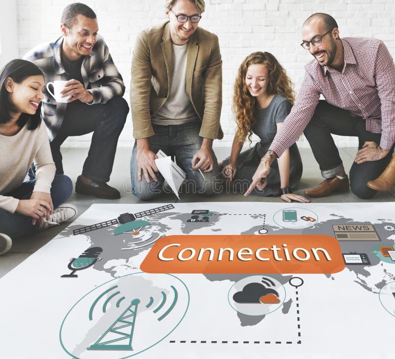 Concepto de la interconexión de la comunicación de la conexión de la tecnología imagen de archivo