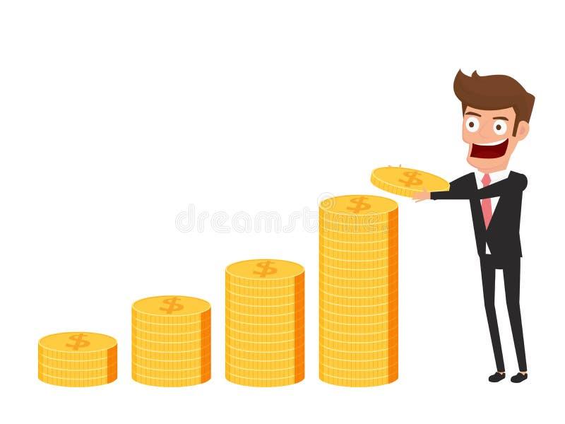 Concepto de la inversión y del ahorro Hombre de negocios que sostiene la moneda de oro Capital y beneficios cada vez mayores Crec ilustración del vector