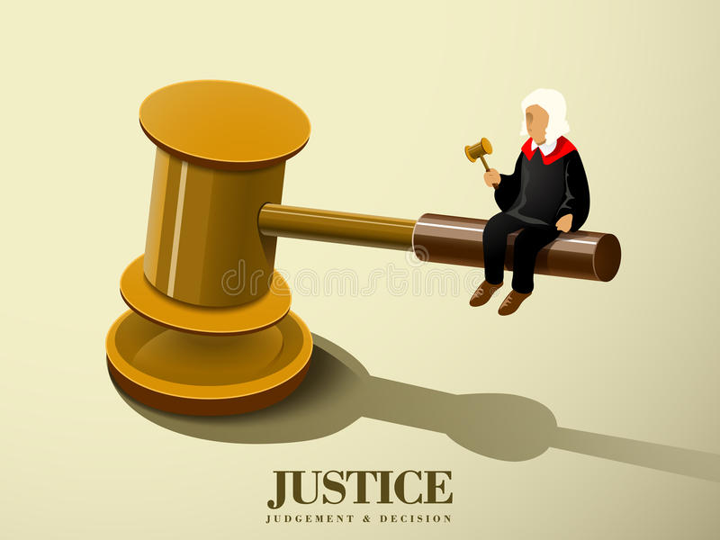 Concepto de la justicia con un juez que se sienta en un mazo libre illustration