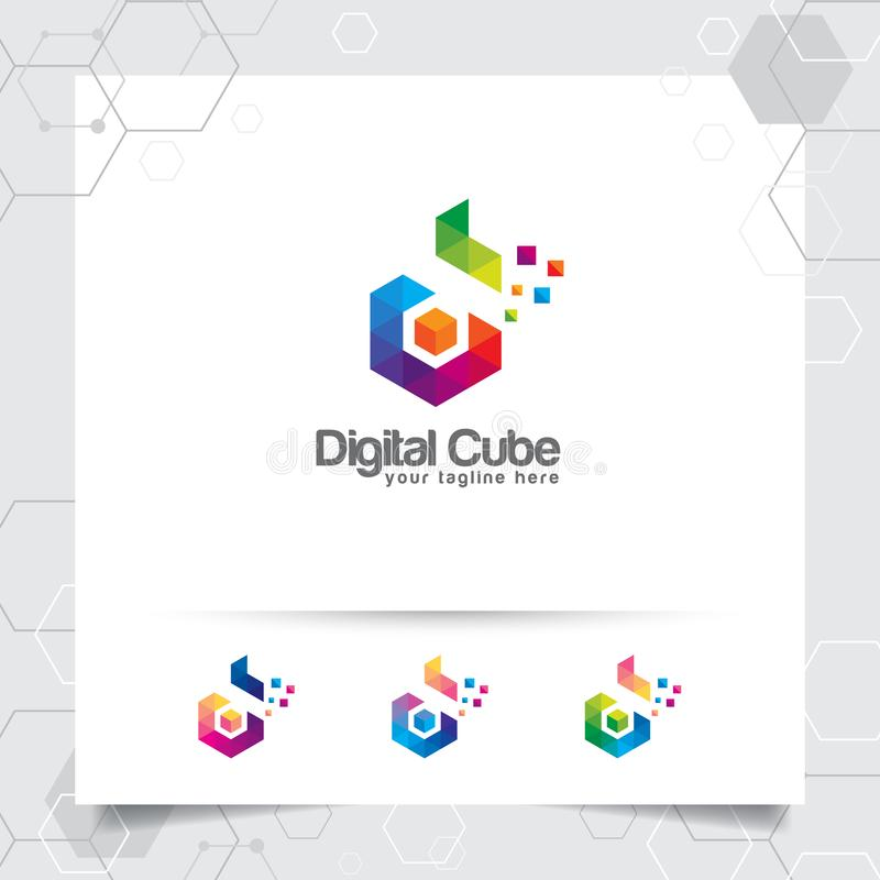 Concepto de la letra D del vector del dise?o del logotipo de Digitaces con el pixel colorido moderno para la tecnolog?a, el softw stock de ilustración