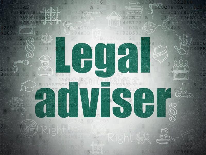 Concepto de la ley: Asesor jurídico en fondo del papel de datos de Digitaces ilustración del vector