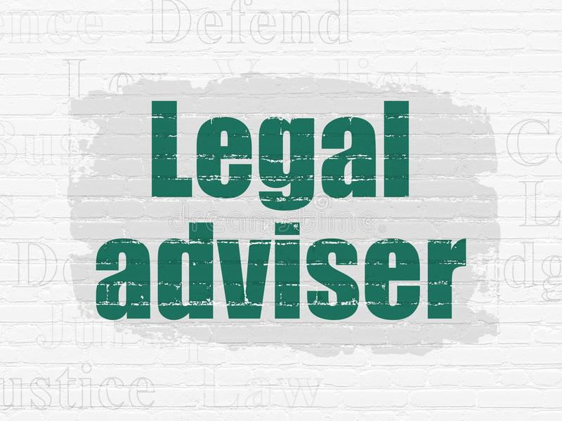 Concepto de la ley: Asesor jurídico en fondo de la pared libre illustration