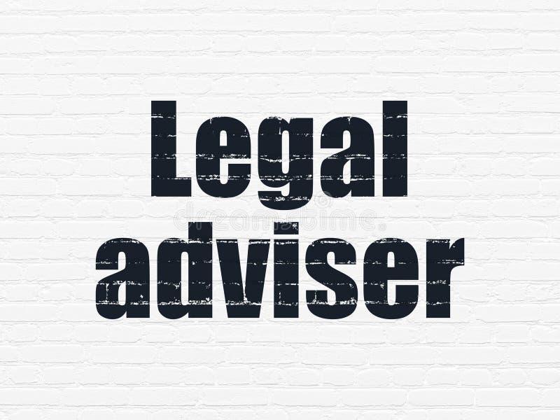 Concepto de la ley: Asesor jurídico en fondo de la pared ilustración del vector