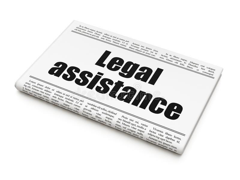 Concepto de la ley: ayuda legal del título de periódico stock de ilustración