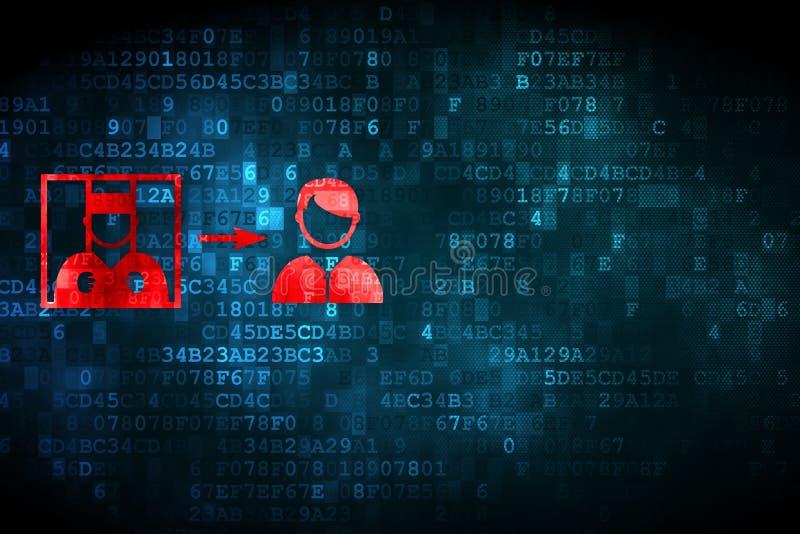 Concepto de la ley: Criminal liberado en fondo digital libre illustration
