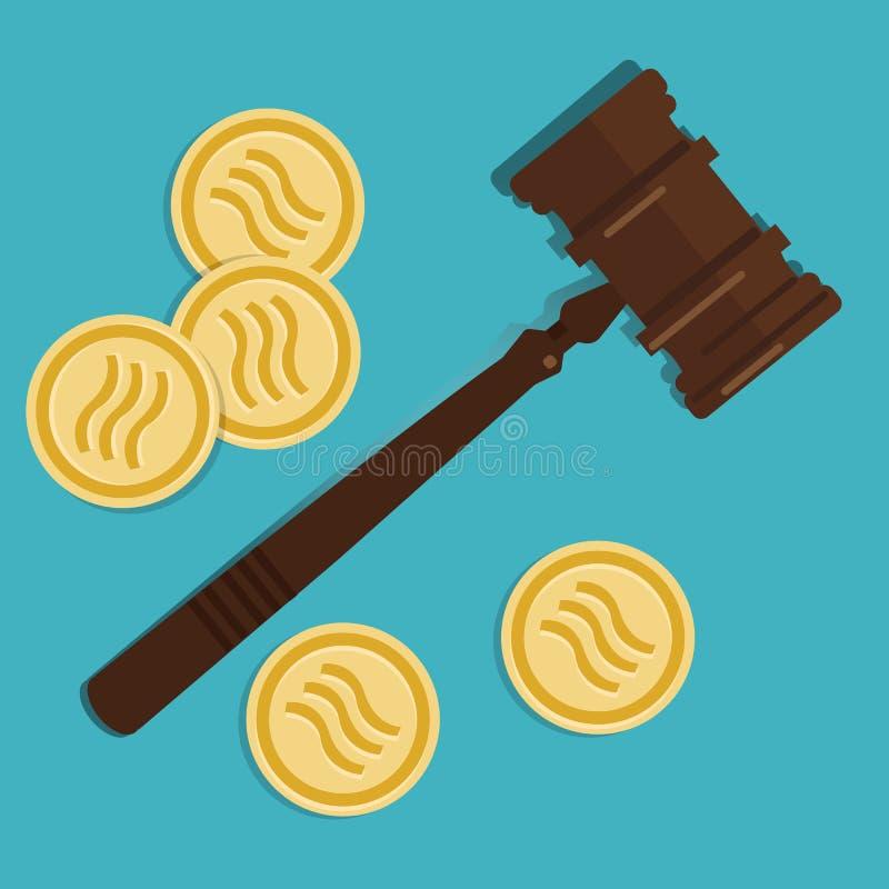 Concepto de la ley de la crypto-moneda del libra de martillo de madera del mazo digital de la moneda de la moneda del sistema jud stock de ilustración