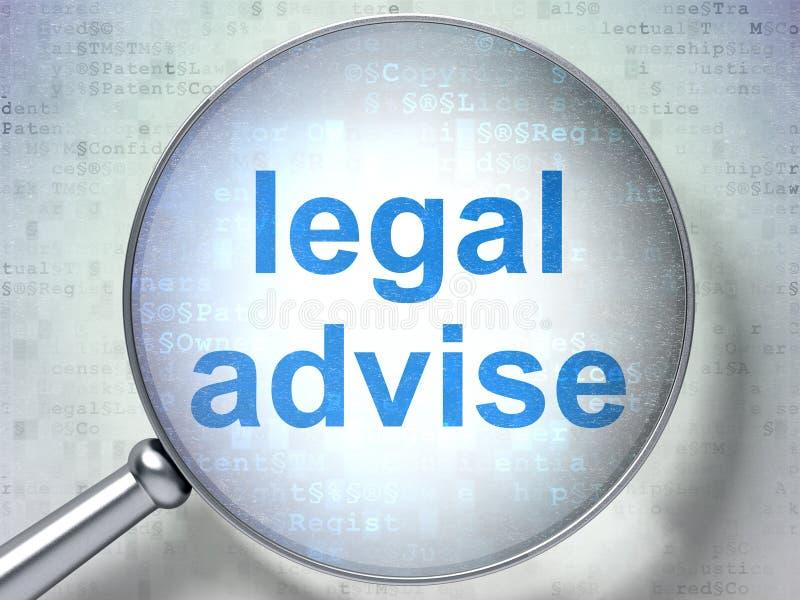 Concepto de la ley: Legal aconseje con el vidrio óptico stock de ilustración