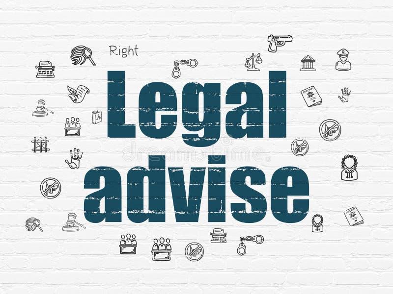 Concepto de la ley: Legal aconseje sobre fondo de la pared stock de ilustración