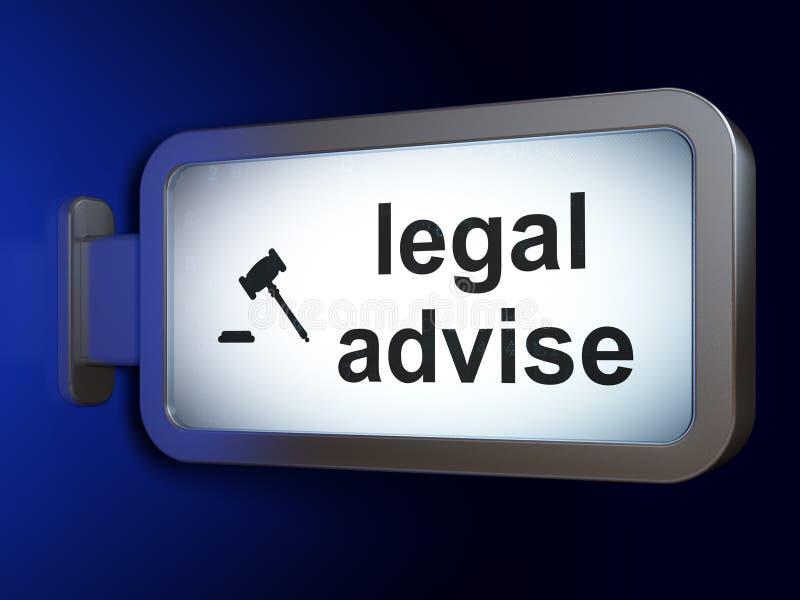 Concepto de la ley: Legal aconseje y mazo en fondo de la cartelera stock de ilustración
