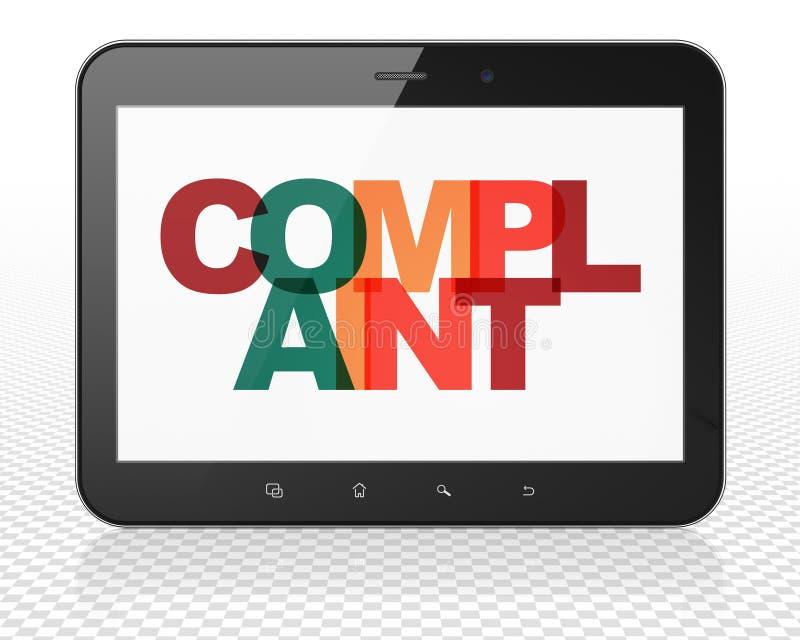 Concepto de la ley: Ordenador de la PC de la tableta con denuncia en la exhibición libre illustration