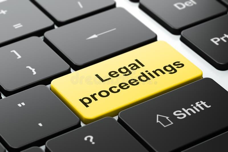 Concepto de la ley: Procesos jurídicos en fondo del teclado de ordenador stock de ilustración