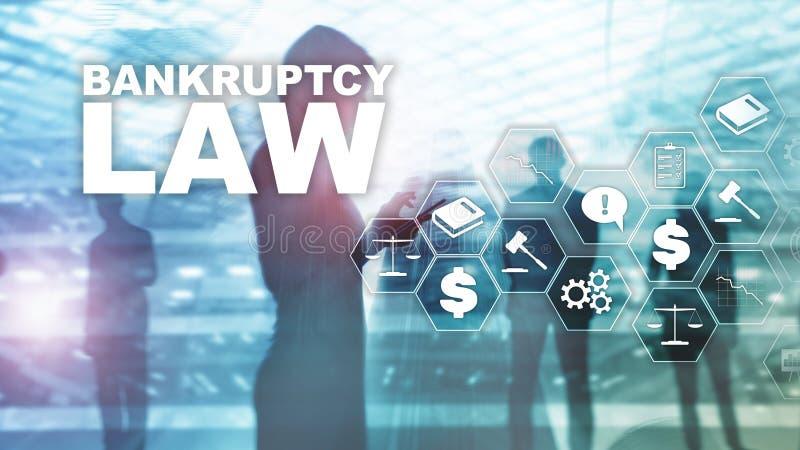 Concepto de la ley de quiebra Ley de la insolvencia Concepto del negocio del abogado de la decisión judicial Fondo financiero de  fotografía de archivo