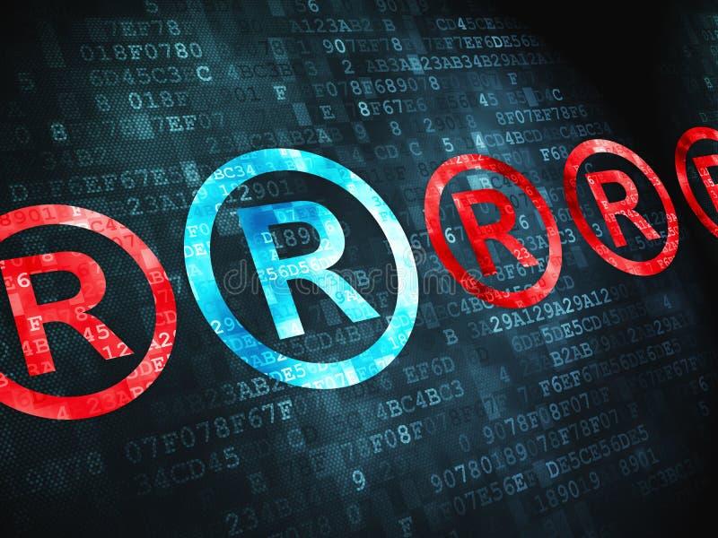 Concepto de la ley: Registrado en fondo digital stock de ilustración