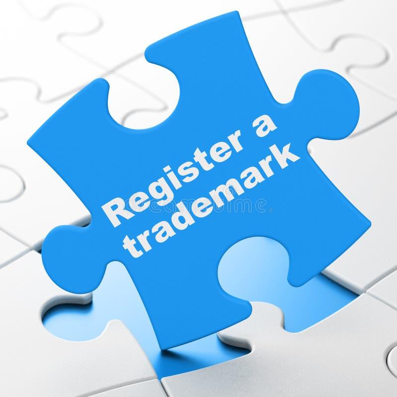 Concepto de la ley: Registre una marca registrada en fondo del rompecabezas stock de ilustración