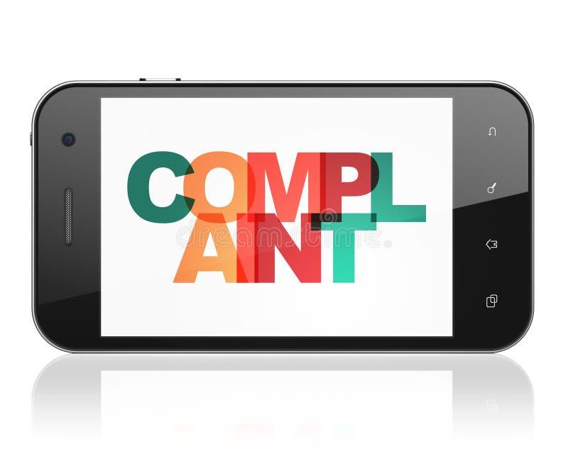 Concepto de la ley: Smartphone con denuncia en la exhibición libre illustration