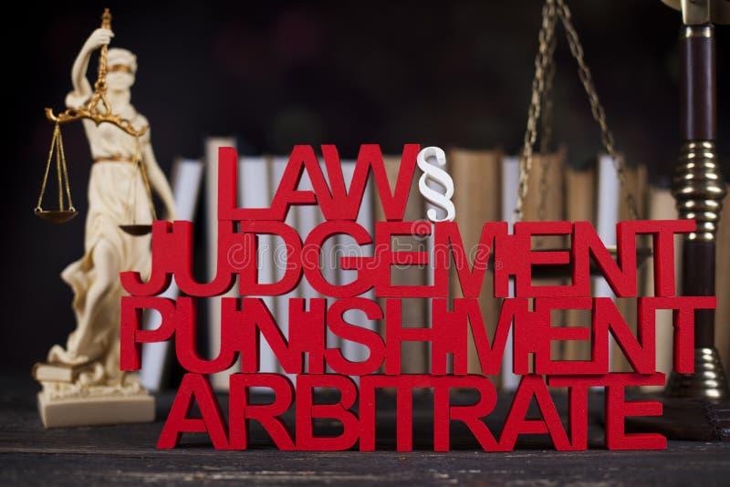 Concepto de la ley y de la justicia, código legal y escalas imagen de archivo