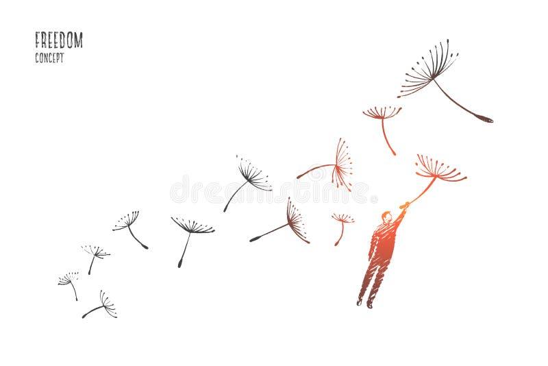 Concepto de la libertad Vector drenado mano stock de ilustración