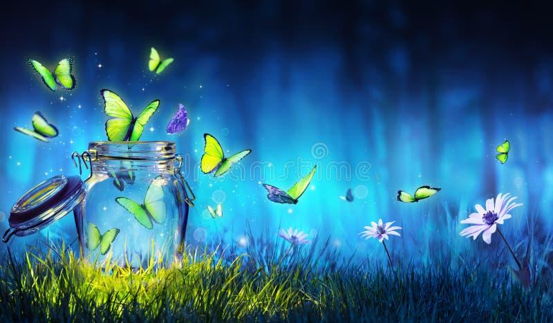 Concepto de la libertad - vuelo mágico de las mariposas fuera del tarro ilustración del vector
