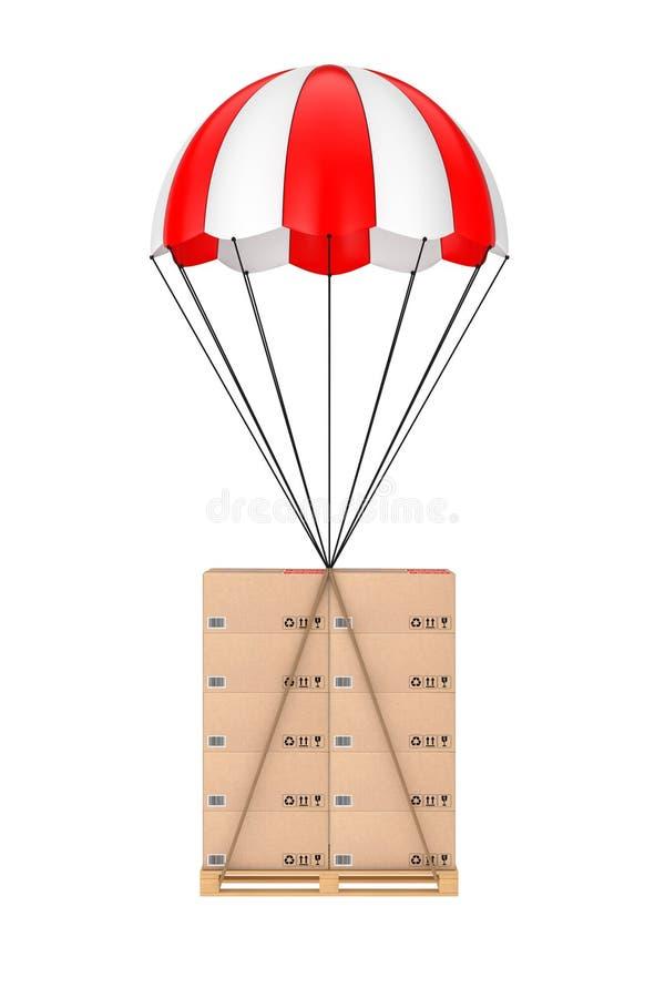 Concepto de la logística Cajas de cartón en la paleta de madera con Parac ilustración del vector
