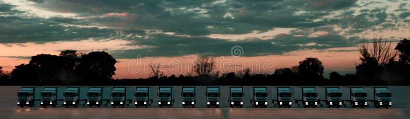 Concepto de la log?stica Grupo de camiones del cargo en fila bajo Sun dramático Front View ilustraci?n 3D ilustración del vector