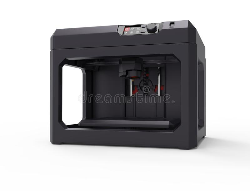 concepto de la máquina de la impresora 3d, aislado en blanco stock de ilustración