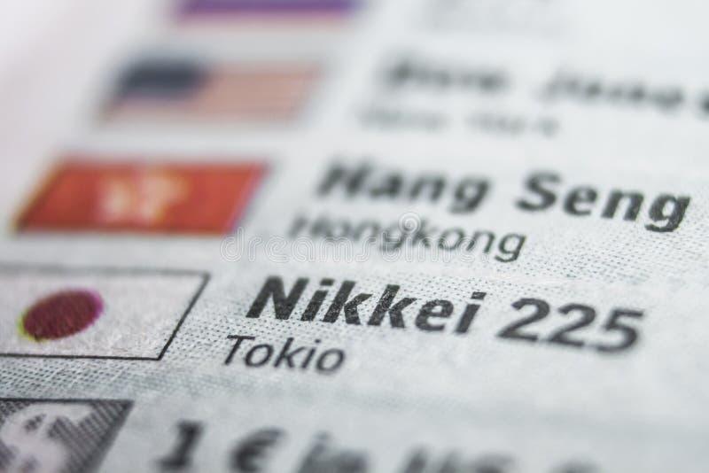 Concepto de la macro de Nikkei fotos de archivo libres de regalías