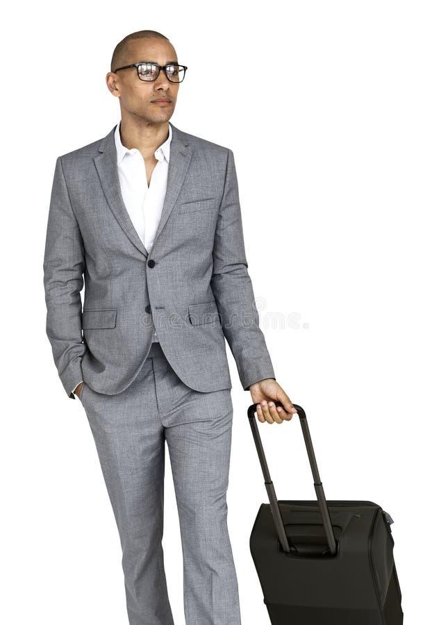 Concepto de la maleta de Passenger Traveling Vacation del hombre de negocios fotos de archivo