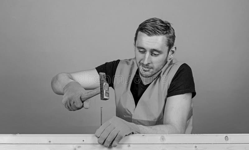 Concepto de la manitas Hombre, manitas en el trabajo de guantes uniformes y protectores handcrafting con el martillo, fondo azul  imagenes de archivo