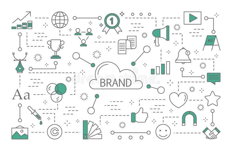Concepto de la marca con la línea iconos stock de ilustración