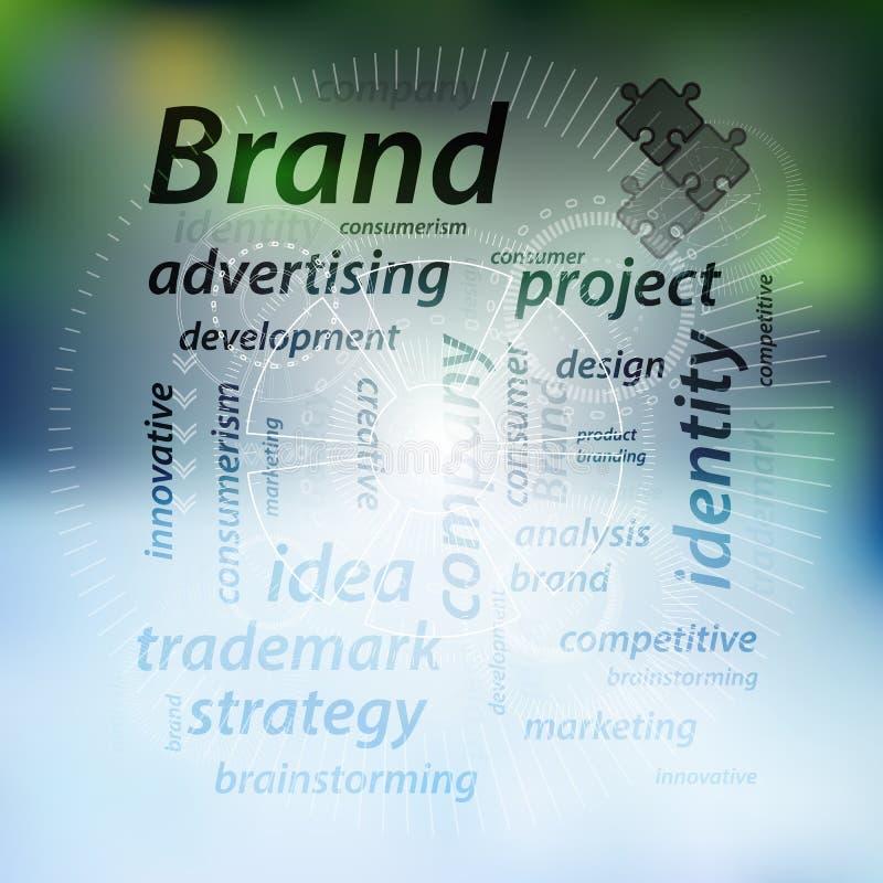 Concepto de la marca Inscripciones con un rompecabezas stock de ilustración