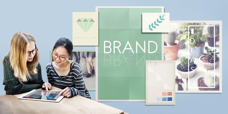 Concepto de la marca registrada del perfil de márketing de la etiqueta de marcado en caliente de la marca imagen de archivo