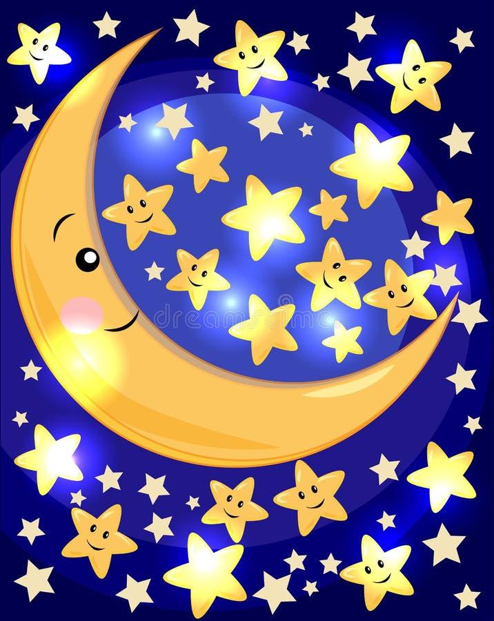 Concepto de la media luna Ejemplo del creciente y de las estrellas Puente de la bah?a en San Francisco, CA stock de ilustración