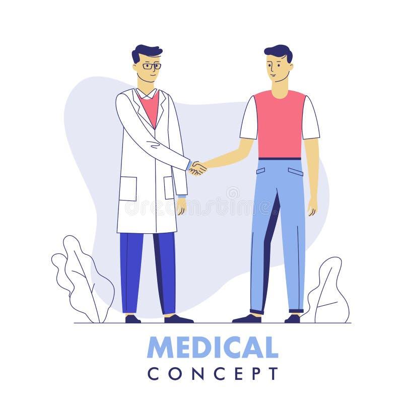 Concepto de la medicina con el doctor y el apretón de manos paciente libre illustration