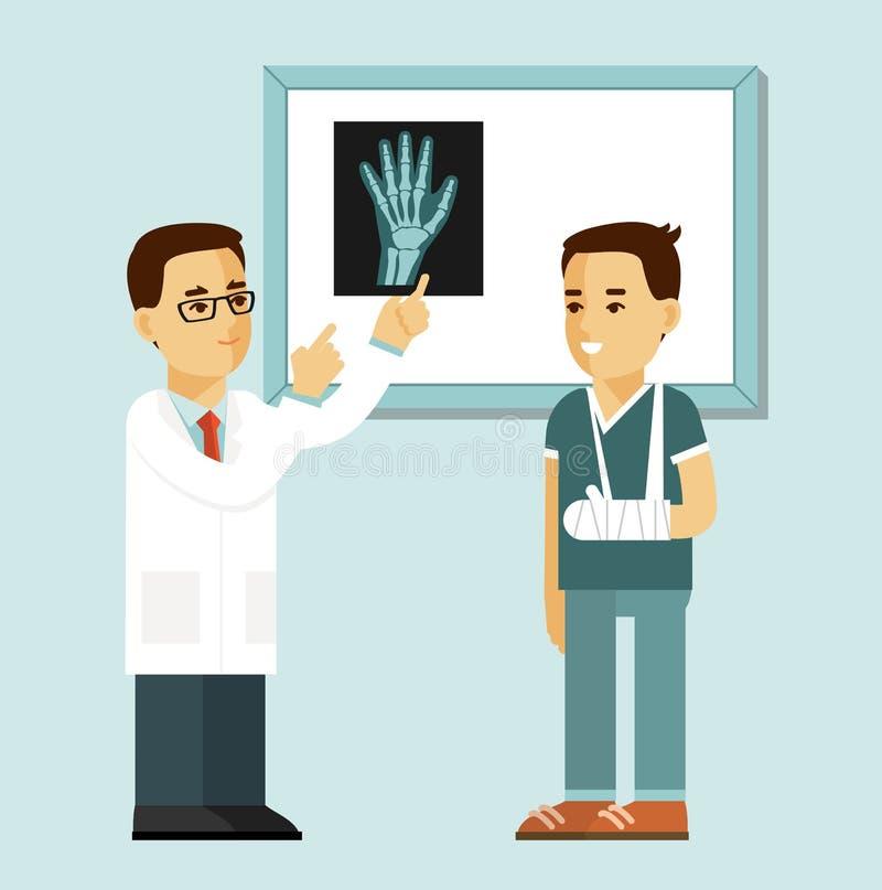 Concepto de la medicina con el doctor y el paciente en estilo plano aislados en el fondo blanco libre illustration