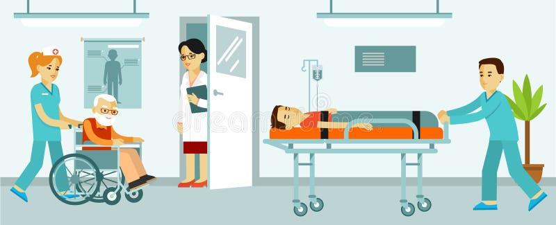 Concepto de la medicina con los doctores y los pacientes en pasillo del hospital stock de ilustración