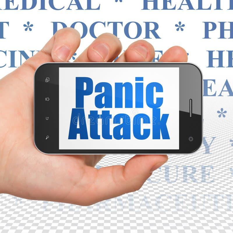 Concepto de la medicina: Dé sostener Smartphone con ataque de pánico en la exhibición fotografía de archivo libre de regalías