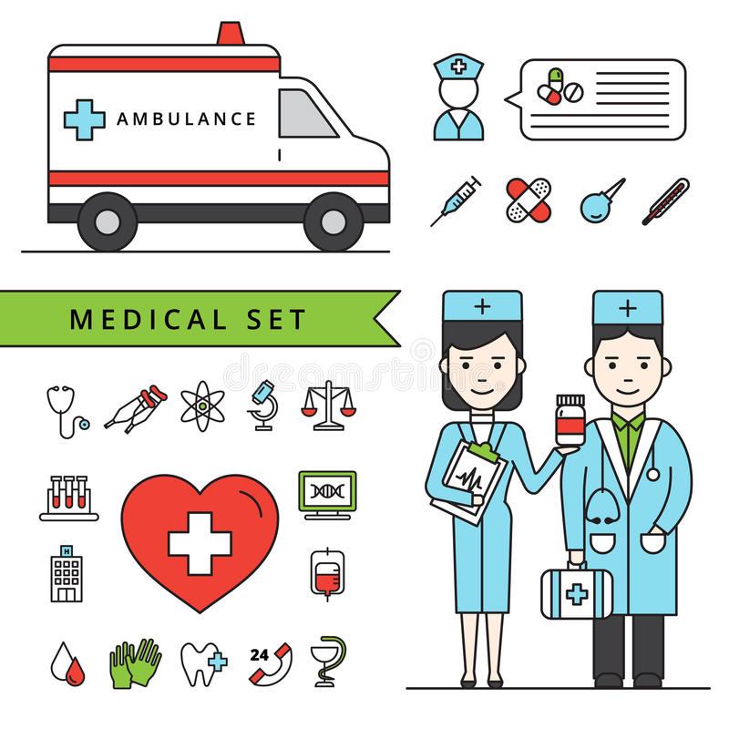 Concepto de la medicina fijado con la ambulancia y los doctores stock de ilustración