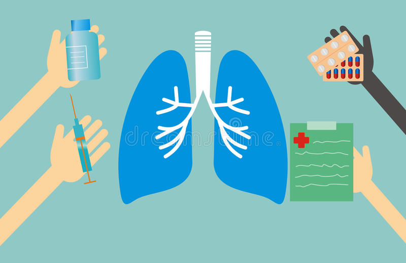 Concepto de la medicina - los pulmones forman y las manos con cosas médicas stock de ilustración