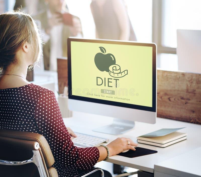 Concepto de la medida de la nutrición de la consumición de la salud de la dieta foto de archivo libre de regalías