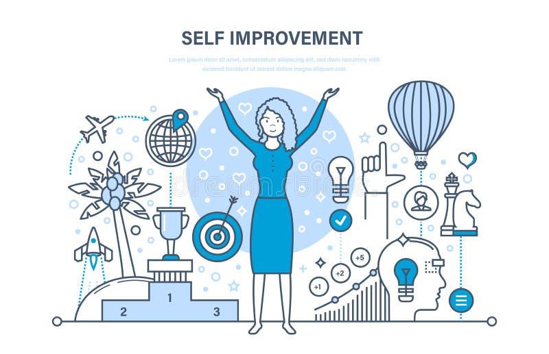 Concepto de la mejora del uno mismo Autodesarrollo, crecimiento personal, inteligencia emocional ilustración del vector