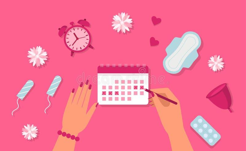 Concepto de la menstruación Manos de la mujer, reloj, cojín, tapón, píldoras Ciclo de la menstruación Vector stock de ilustración