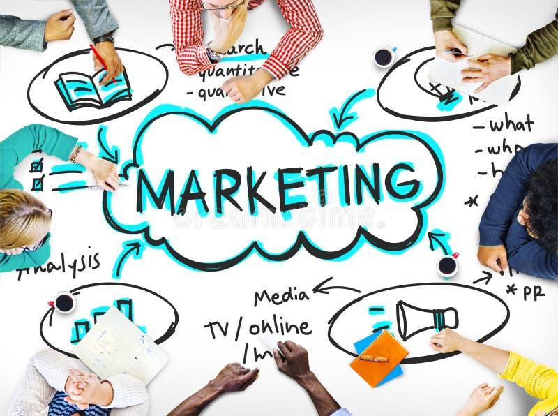 Concepto de la mercancía de la promoción de la publicidad de negocio del márketing imagenes de archivo