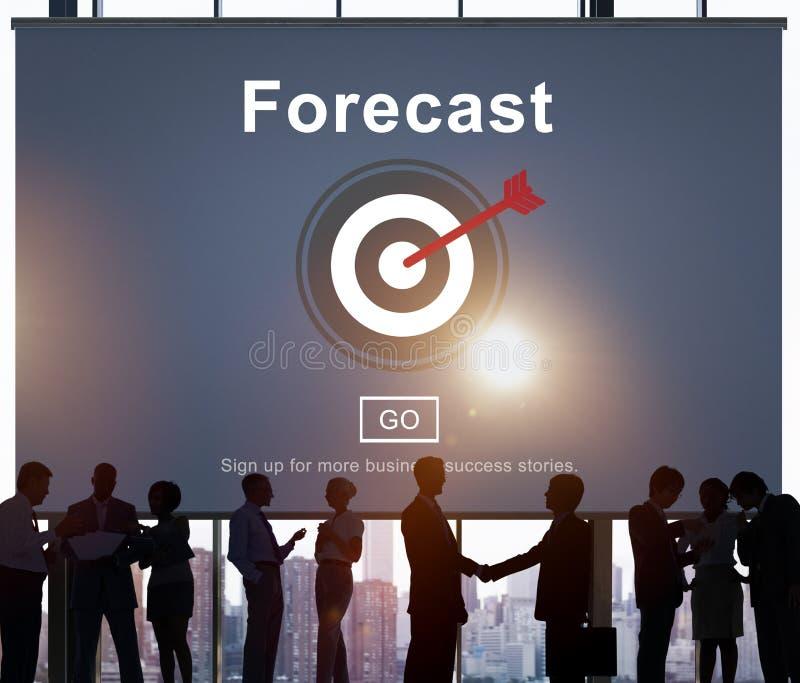 Concepto de la meta del plan de la predicción del pronóstico fotos de archivo
