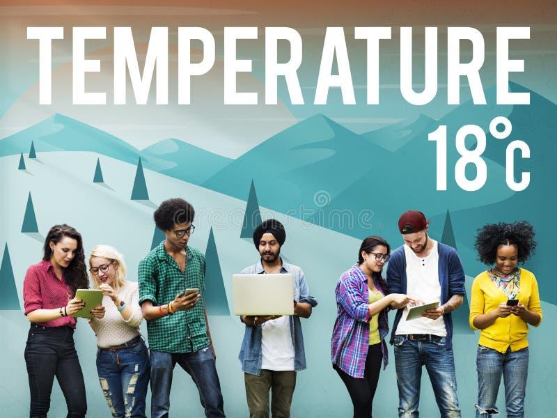 Concepto de la meteorología de las noticias del pronóstico de la temperatura de la actualización del tiempo imagen de archivo