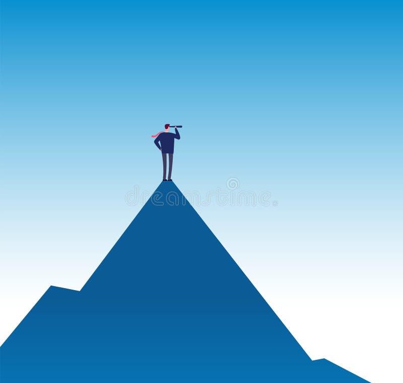Concepto de la misión de negocio Visionario en pico de montaña con el telescopio Cartel del vector de la visión del negocio del é libre illustration