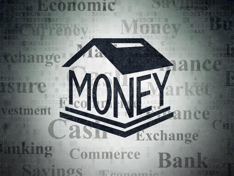 Concepto de la moneda: Caja de dinero en fondo del papel de datos de Digitaces libre illustration
